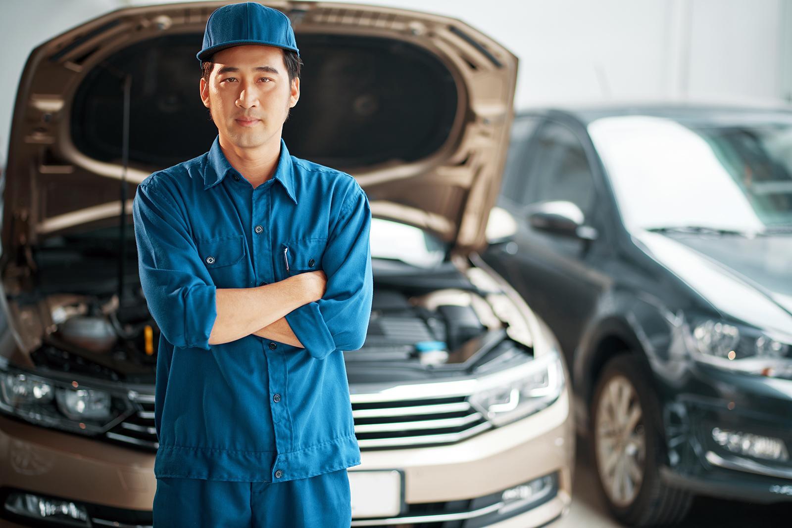 a mechanic at a car service center